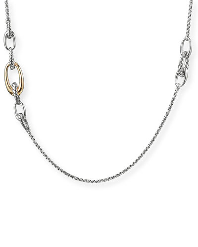 Pure Form 2-Tone Graduated Link Station Necklace