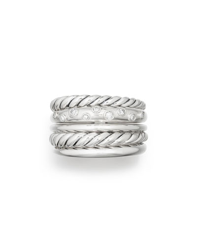 Pure Form Wide Ring w/ Diamonds