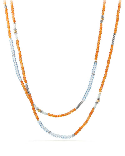 Tweejoux® Long Bead Necklace in Orange/Blue Stone Mix, 36
