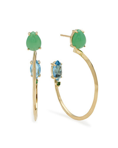 18k Prisma Three-Stone Hoop Earrings in Portofino