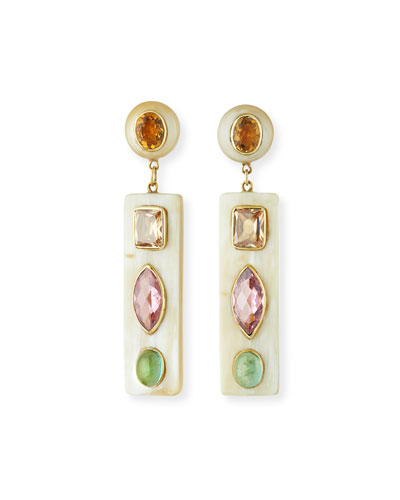 Ada Light Horn Drop Earrings w/ Gems