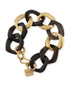 Salama Dark Horn & Bronze Link Bracelet
