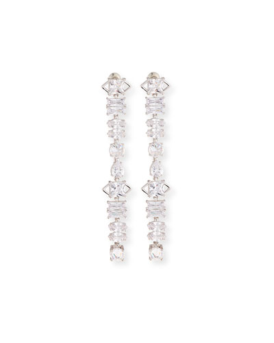 Quick Look Fallon Jagged Edge Cubic Zirconia Drop Earrings Available In Silver