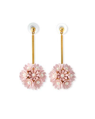 Plumeria Enamel Floral Drop Earrings