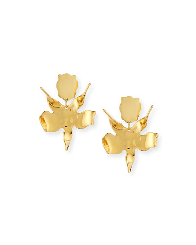 Paper Lily Statement Earrings, Golden