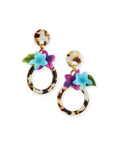 Hibiscus Hoop Drop Earrings