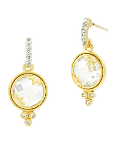 14k Fleur Bloom Cubic Zirconia Mini Drop Earrings