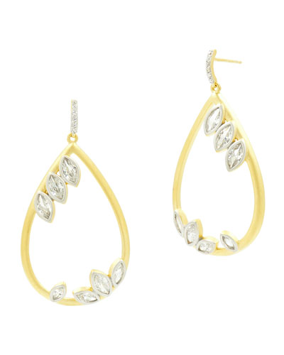 14k Fleur Bloom Cubic Zirconia Teardrop Earrings
