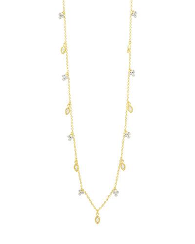 14k Cubic Zirconia Bloom & Petal Necklace, 40