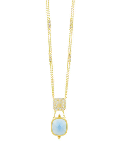 Ocean Azure Double-Drop Pendant Necklace