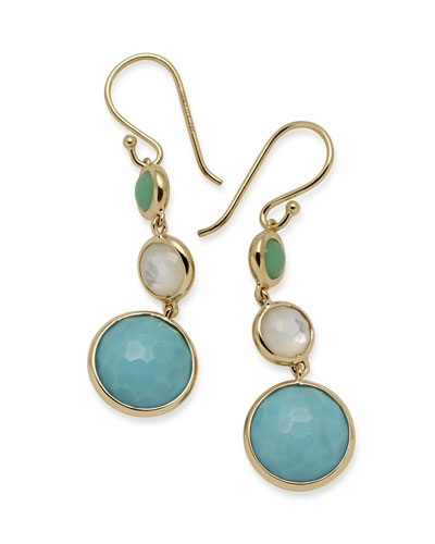 18k Lollipop® Three-Stone Drop Earrings in Pacific