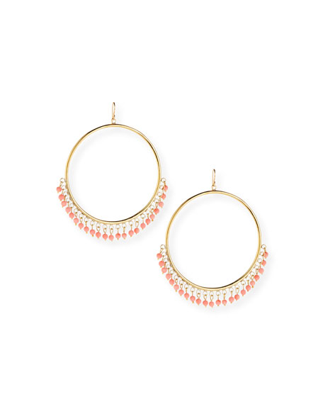 Ashley Pittman Mnara Bronze Hoop Earrings w/ Coral Dangles