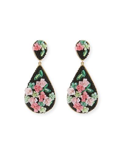 Julia Rosette Beaded Drop Earrings