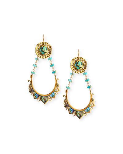 Abalone & Turquoise Drop Earrings