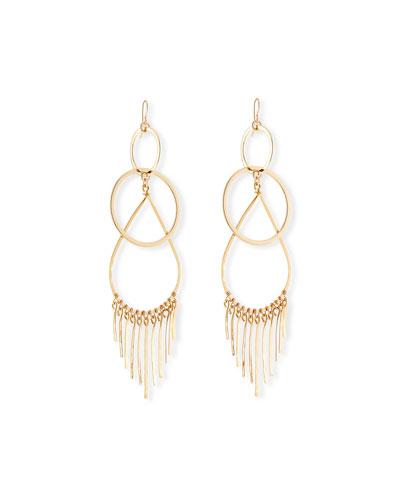 Double-Link Teardrop Earrings w/ Fringe