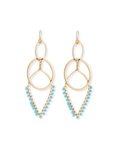 Double-Link Teardrop Earrings w/ Beads, Blue