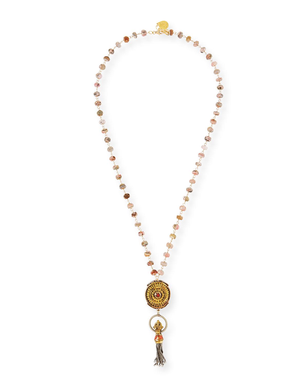 Long Rhodochrosite & Mini Tassel Necklace