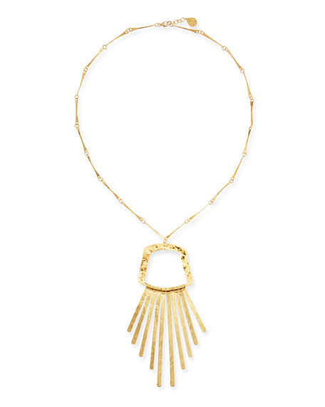 Devon Leigh Long Golden Fringe Pendant Necklace