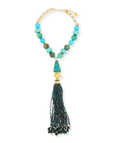 Turquoise & Chrysoprase Tassel Necklace