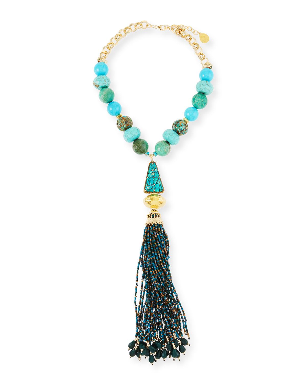 Turquoise & Chrysoprase Tassel Necklace