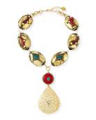 Devon Leigh Coral & Turquoise Filigree Pendant Necklace