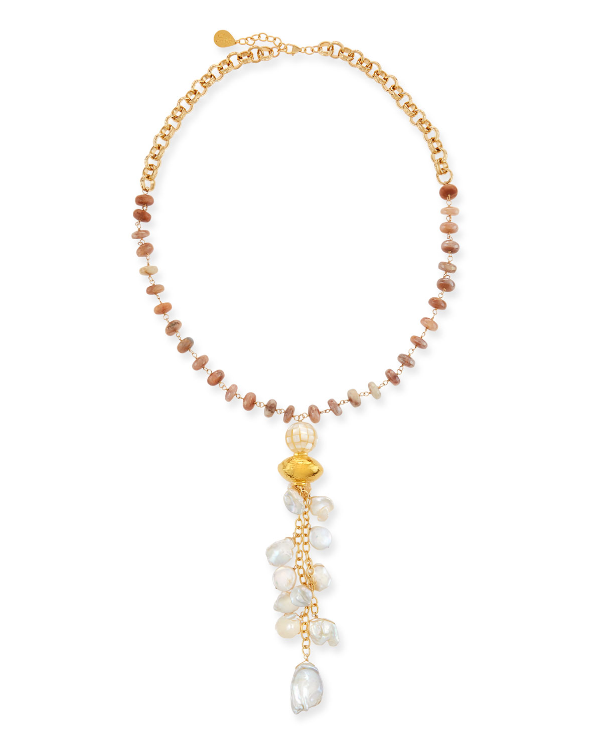 Moonstone & Pearl Cluster Necklace