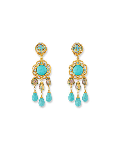 Turquoise Triple-Drop Clip-On Earrings
