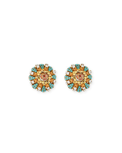 Summer Button Clip-On Earrings