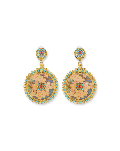 Floral Decoupage Clip-On Drop Earrings