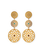 Triple Medallion Drop Earrings