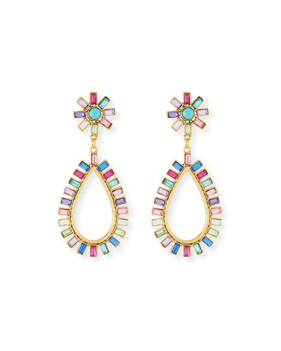 Rainbow Floral Crystal Drop Earrings