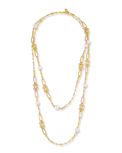 Graduated Link Pearl Station Necklace
