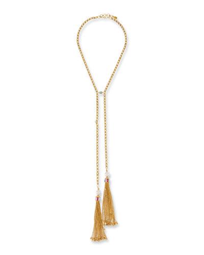 Sequin Double Tassel Y-Drop Necklace fJwWt9qA0