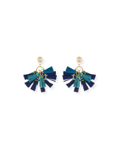 Raffia Tassel Statement Earrings, Blue