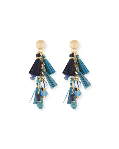 Blue Mixed-Media Cluster Raffia Tassel Drop Earrings
