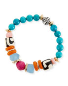"Thin Multicolor Beaded Stretch Bracelet, 7.25""L"