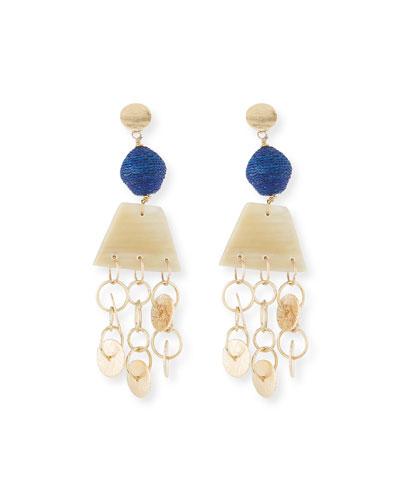 Horn, Raffia and Triple Chain Dangle Earrings