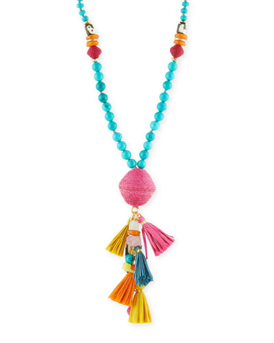 Long Mixed Bead Necklace w/ Multi-Tassel Drop, Multicolor