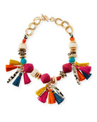 Short Multi-Bead & Tassel Necklace