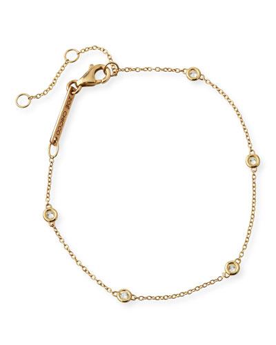 14k Floating Diamond Station Bracelet