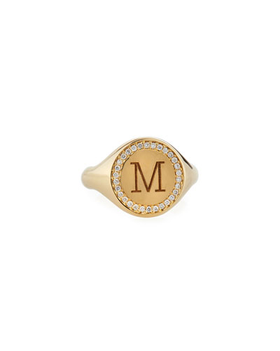 14k Personalized Initial 14k Gold  Diamond Halo Signet Ring