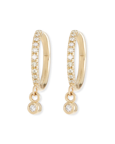 14k Diamond Huggie Hoop Drop Earrings