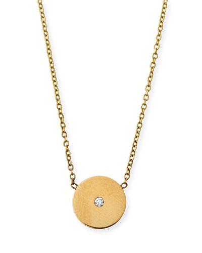 14k Diamond Disc Pendant Necklace