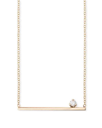 14k Straight Bar Necklace w/ Diamond