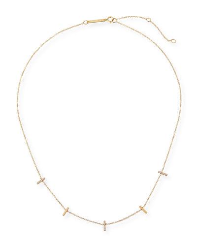 14k Tiny Pave Bar Station Necklace