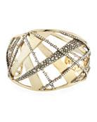 Crystal Encrusted Plaid Cuff Bracelet