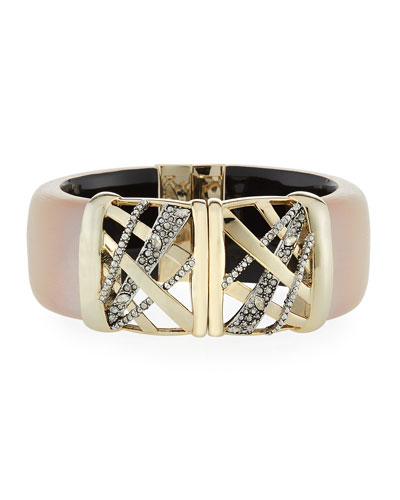 Crystal Encrusted Plaid Hinge Bracelet