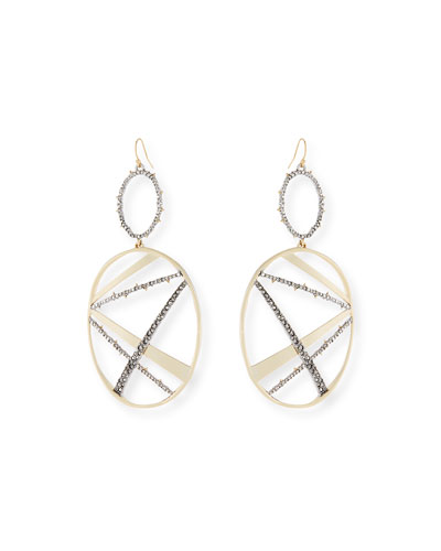 Crystal Encrusted Plaid Drop Earrings