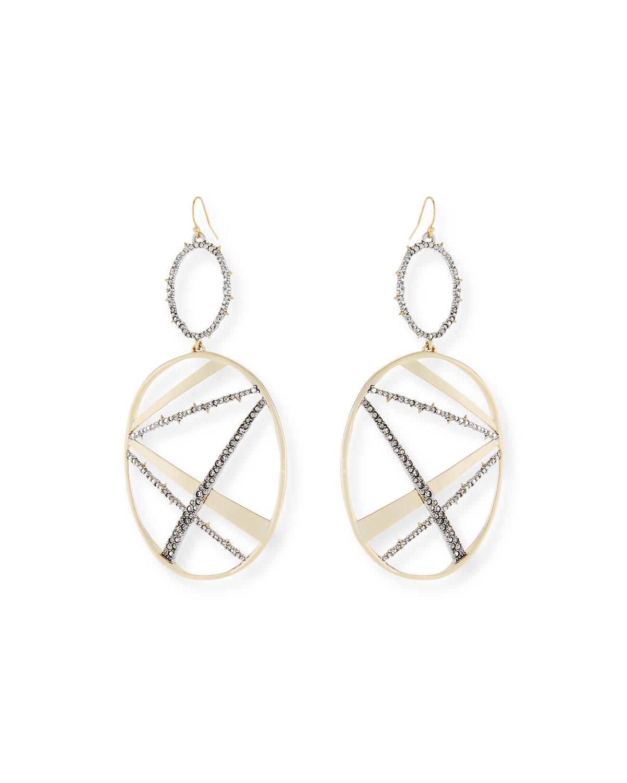 ALEXIS BITTAR Crystal Embellished Dangling Drop Earrings in Gold/ Silver