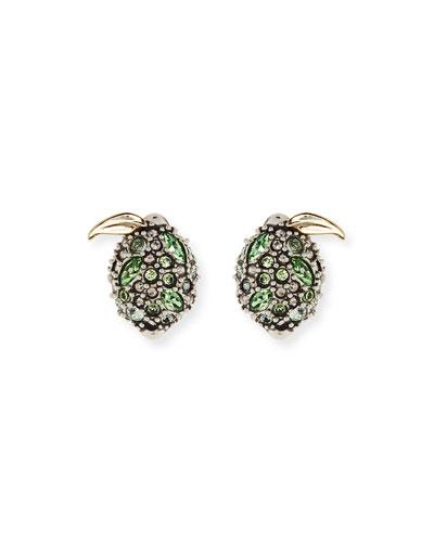 Crystal Encrusted Lime Post Earrings